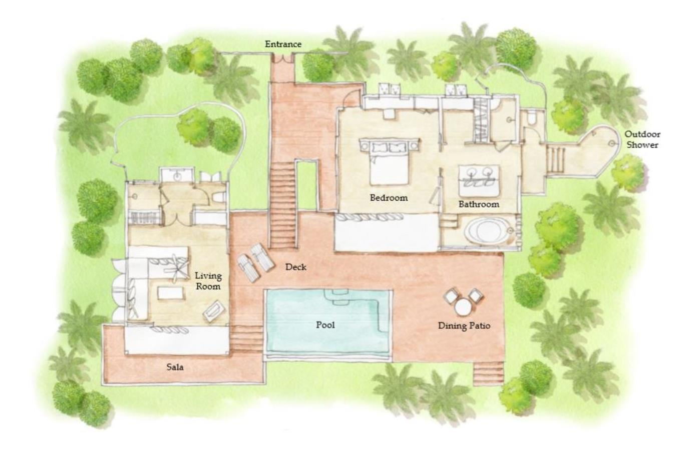 Floorplan Beachfront Pool Villa Suite